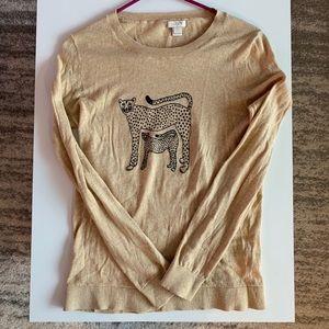 J crew S cheetah sweater printed tan